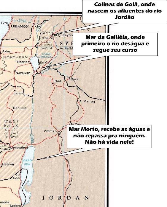 Mapa de Israel - curso do Jordão