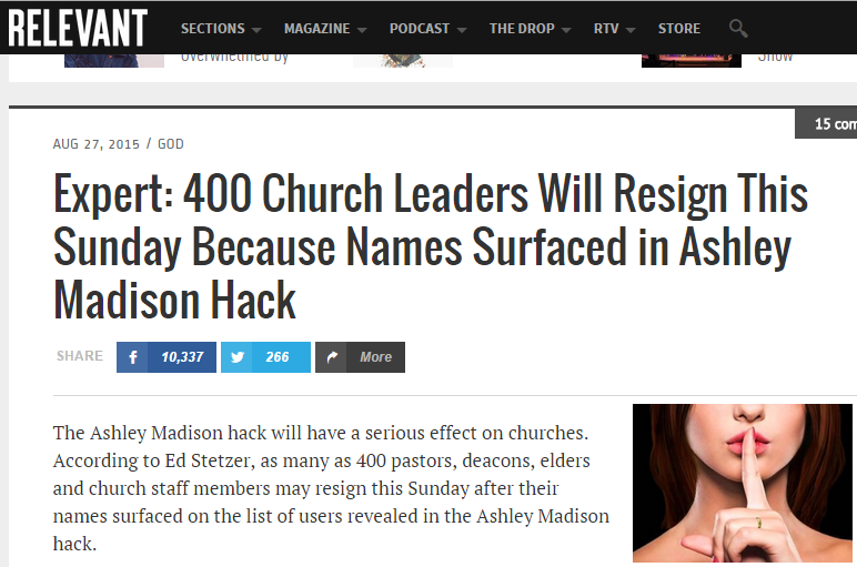 400 pastores e líderes renunciam nos EUA por estarem na lista da Ashley Madison!