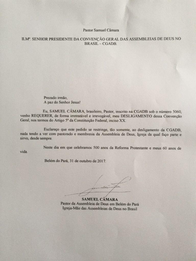 Carta de desfiliação do Pr. Samuel Câmara