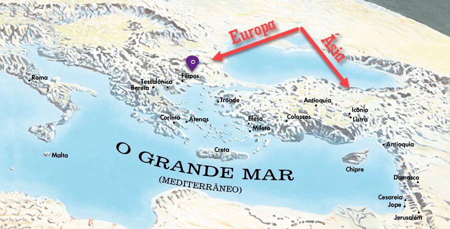 Mapa da região de Filipos