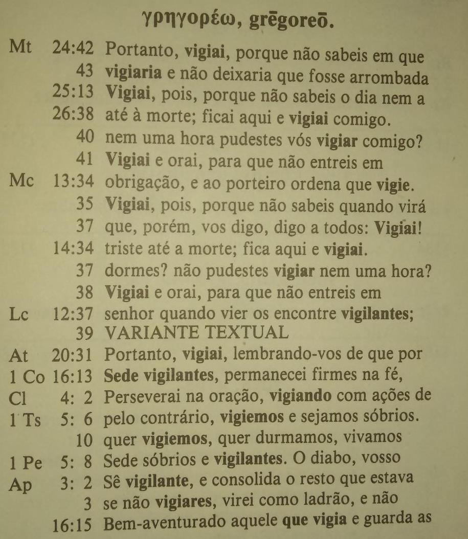 Ocorrências do verbo grêgoréô